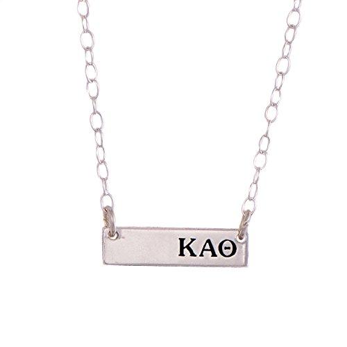 Desert Cactus Kappa Alpha Theta Sterling Silver Horizontal Bar Necklace Greek Sorority Letter with Adjustable Chain (Merchandise Alpha)