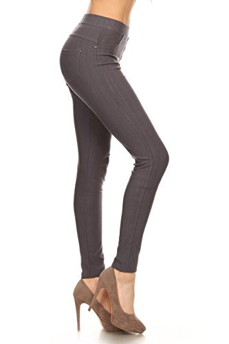 Leggings Depot Jeggings, J04-1004PLUS-CHARCOALGRAY-1X2X ()