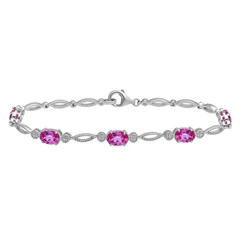 (Jewelili Sterling Silver 7x5mm Oval Created Pink Sapphire Bracelet, 7.5 inch - New)