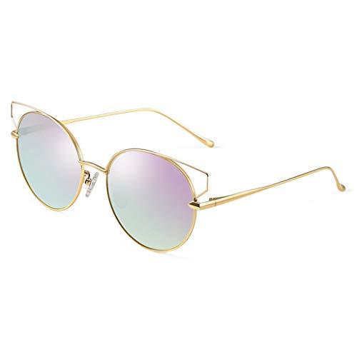 la Sport Ronde de lunettes Des en à C Yeux Mode Soleil de Chat Miroir Lunettes de E pour Monture Conduite à polarisées Femmes de métal soleil Femme Couleur PIwqg