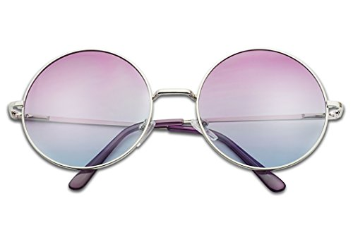 Sunglass Stop - Women's Cute Over Sized Purple Gradient Lens 70's Sunglasses (Silver, - Glasses Style 70