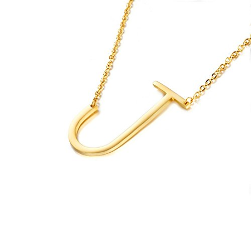 DIANE LO'REN 18K Gold Plated Sideways Initial Charm Necklace (J)