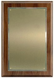 Walnut Plaque 8 x 12, Satin Brass/SilverPlate 5 1/2 x 9 1/2 (Silverplate Brass)