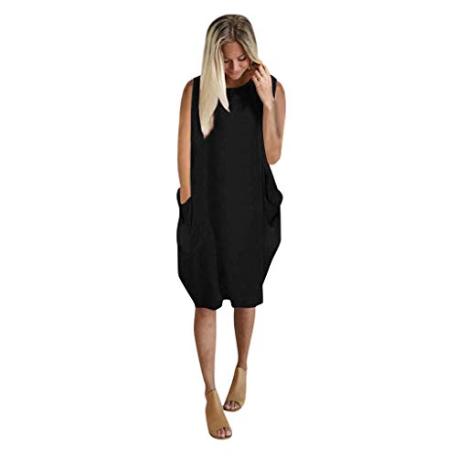 Holzkary Women's Casual Pocket T-Shirt Sleeveless Print Comfy Crew Neck Plus Size Dress Tops(4XL.Black)