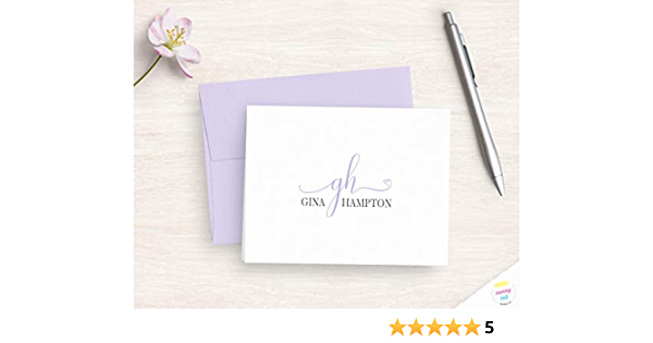 Personalized Note Cards Stationery Set Illustrated and Hand Painted Daisy Grey Custom Flat Card Set of 12