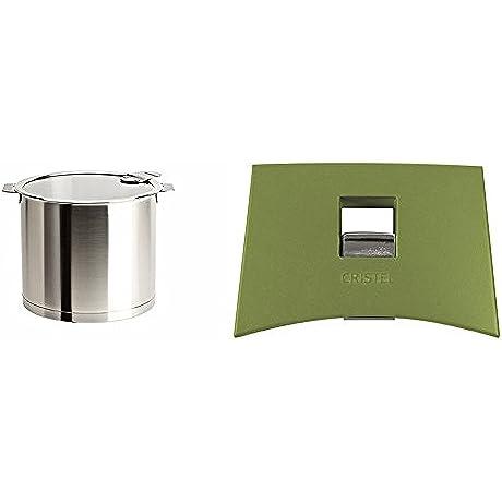 Cristel M24QLKSA Stockpot With Domed Glass Lid Silver 10 Quart With Cristel Mutine Plmavt Side Handle Green