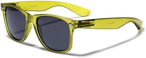 Classic Retro Fashion Sunglasses - Colorful Neon Frame Colors - Dark Lens