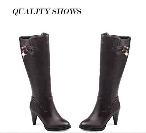 Xdx femme FemmeAutomne talons Grande Genou Et Hiver Chaussures Taille' Femme Au 'bottes Hauts Marron Bottes bottes 36 43 rtshQxdC