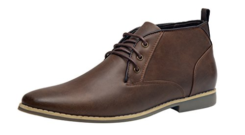 Chukka Mens Casual (SHENBO Men's Modern Classic Chukka Boots (9, Brown))