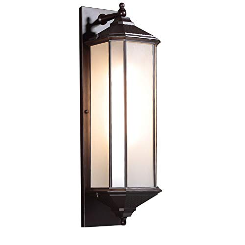 Windsor Home Deco, WH-62524L, A Metal Wall Light with Glass Lampshades, Outdoor Waterproof Wall Light, Modern Wall Lamp for Courtyard Garden Front Door Lighting (Outdoor Deco Lighting)