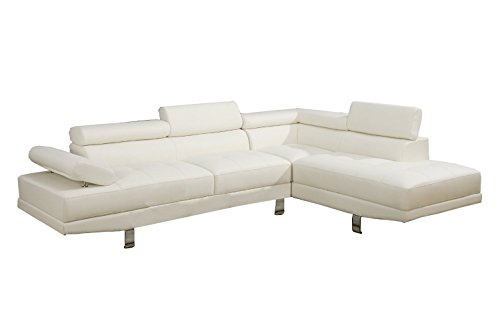 Poundex 2 Pieces Faux Leather Sectional Right Chaise Sofa, White (White Sofa Sectional Furniture)