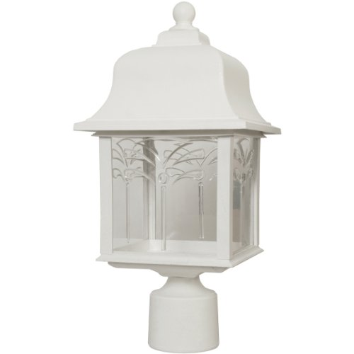 Sunlite 47218-SU DOD/ORP/WH/CL/MED Decorative Outdoor Orchid Post Polycarbonate Fixture, White Finish, Clear Lens