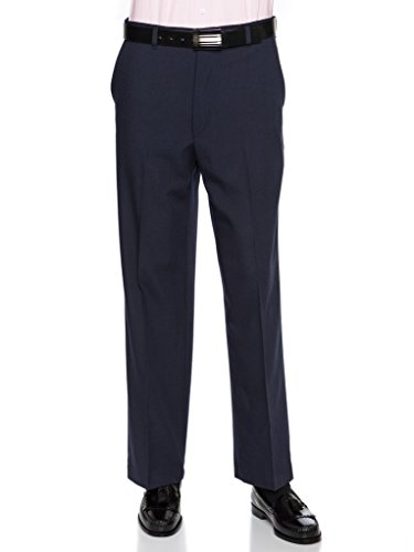 Mens Flat Front Dress Pants – Wool Blend Long Formal Pants for Men, Made in USA Navy 42 Short