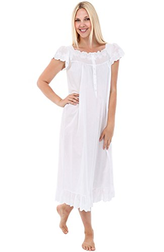 Alexander Del Rossa Womens Rose Cotton Nightgown, Raglan Sleeve Victorian Sleepwear, XX-Large White (A0565WHT2X)]()