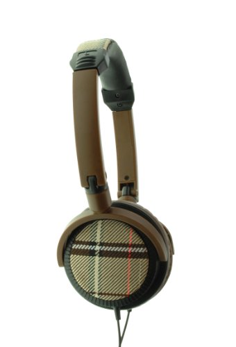 Urbanz Tartan Fashion Headphones - Brown
