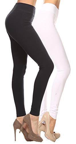 2ND DATE Women's Basic Cotton Stretch Leggings with Comfort Waistband-2pack-BK.WT-Small ()