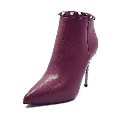 botines invierno de botas para tobillo Burdeos comodidad mujer sintética Desy granate zapatos Casual stiletto botas talón de la otoño remache Negro SgfFq7x