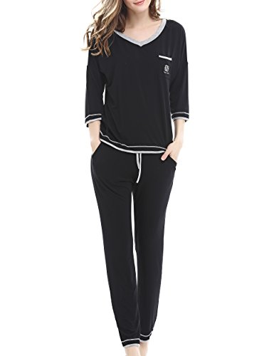Women's V-Neck Knit Sleepwear Short Sleeves Top with Pants Pajama Set by Nara Twips(Black,XL) - Knit Sleepwear