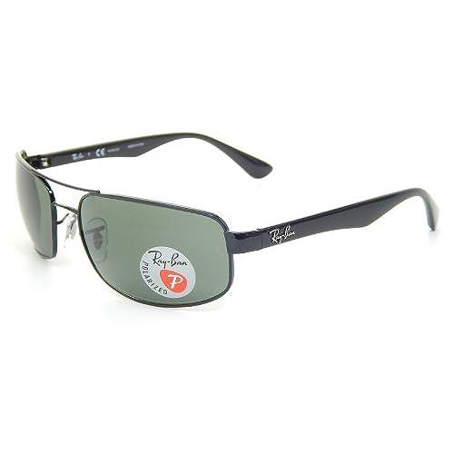 b558ed51bff2 durable service Ray Ban RB3445 002 58 Black Crystal Green Polarized 61mm  Sunglasses