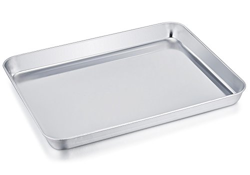 TeamFar Stainless Steel Compact Toaster Oven Pan Tray Ovenware Professional, 8''x10''x1'', Heavy Duty & Healthy, Deep Edge, Superior Mirror Finish, Dishwasher Safe (Pans Oven Microwave Oven)