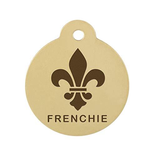 dogIDS Signature Engraved Fleur De Lis Dog ID Tag - Solid Brass - 1.25 Inch Diameter