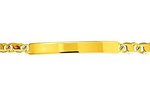 www.diamants-perles.com - Bracelet enfant - Identité bébé - Gourmette - Or - Maille Miroir alternée