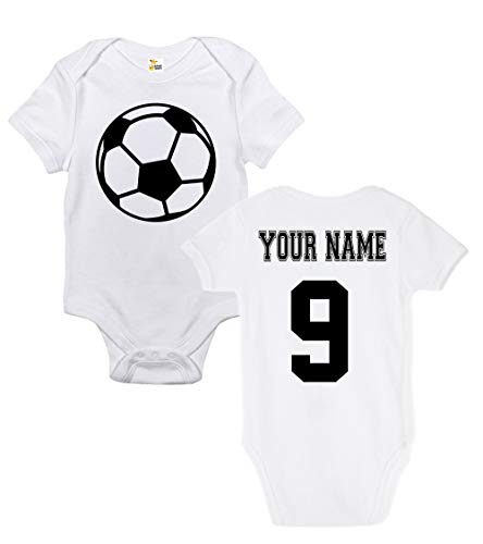 Custom Onesie Infant Baby - Baby Bodysuit - Custom Personalized Soccer Ball with Your Name and Number (0-3 Months)