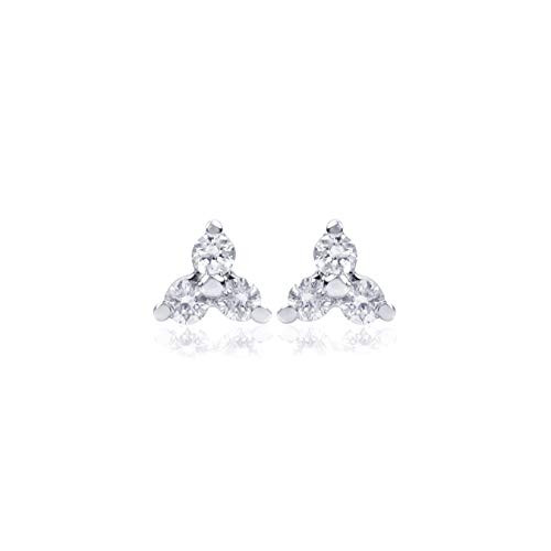 Euforia Jewels IGI Certified 14K White Gold 0.11 Cts (SI-I1/F-G) Round Full Cut Natural Diamond Earring With Silver Silicon Post Friendship Day Gift ()