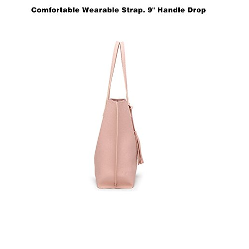 KAALIXTO Borsa a Mano Spalla Donna Elegante Pelle Nera Blu Rosa Ragazza  Grande Borsetta Borsa Tote Shopping Bag Handbag for Women (Rosa)   Amazon.it  Scarpe ... c5073bfdfb0