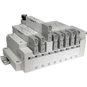 SMC SS5V1-16FD1-04U-N7 Stacking Cassette Pneumatic Manifold, Series Compatibility: SV1000, Plug-in Elec. Connect.