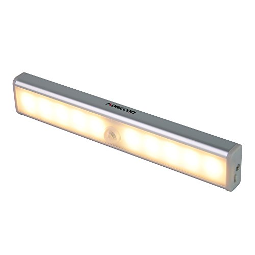 Motion Sensor Light,MORECOO Super Bright 10 LED Step Light Under Cabinet Light USB Rechargeable with Stick-on Magnetic Strip for Closet, Attics, Hallway, Cupboard ,Stair (Warm Light)