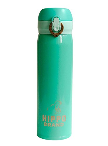 Hippo Vacuum Insulated Compact Design - Stainless Steel water bottle for hot and cold beverages - suitable for travel and personal use - 16 oz (Tiffany - Images Tiffany Of Blue