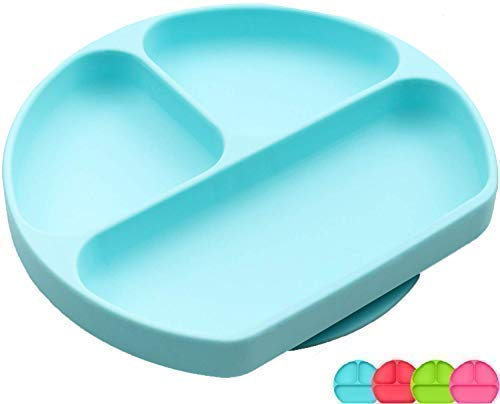 SiliKong SiliKong Silicone Suction Plate for Toddlers, Fits Most Highchair Trays, BPA Free, Divided Baby Feeding Bowls Dishes for Kids (Blue) price tips cheap
