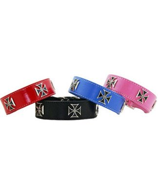 Auburn Leathercrafters Iron Cross Collar, Pink, 26 inches (24 inches to 26 inches)