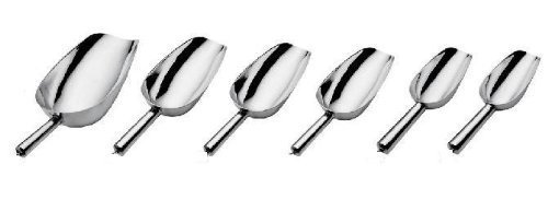Update International 6 Sizes Aluminum Candy, Bar, Ice Scoops, Silver by Update International