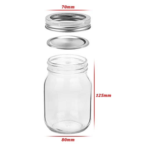 KAMOTA Mason Jars 16OZ With Regular Lids and Bands, Ideal for Jam, Honey, Wedding Favors, Shower Favors, Baby Foods, DIY Magnetic Spice Jars, 12 PACK, 20 Whiteboard Labels Included by KAMOTA (Image #1)