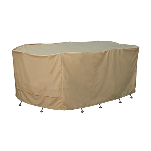 Seasons Sentry CVP01430 Oversized Oval Table and Chair Set Cover, Sand
