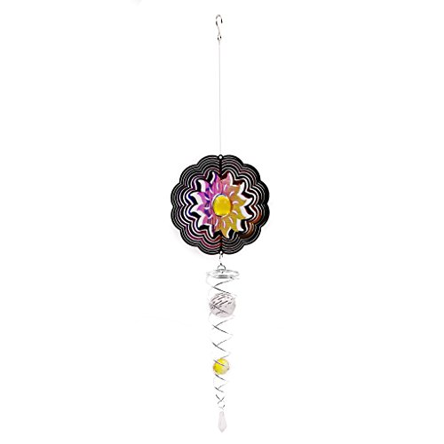 Ymeibe Sun Hanging Spinner Garden Galvanized Wind Spinner Outdoor with Helix Spiral Tail and Glass Ball 3-D Stainless Steel Kinetic Twisting Decor for Patio, Deck or Yard by Ymeibe (Image #7)