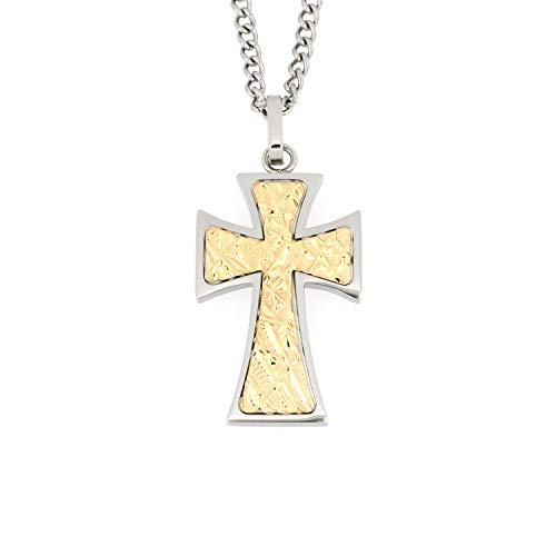 Arrow Jewelry Stainless Steel Cross with 14K Solid Gold Inlay Religious Cross Pendant, 24