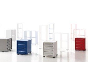 Caisson de bureau à roulettes tiroirs lez blanc rouge bleu ou