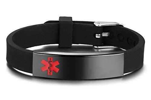 JF.JEWELRY Medical Alert ID Silicone Band Bracelet for Kids Gun Black-Plated Stainless Steel Tag Free Engraving