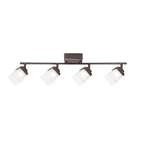 Hampton Bay 4-Light Bronze LED Dimmable Fixed Track Lighting Kit with Straight Bar Frosted Square Glass