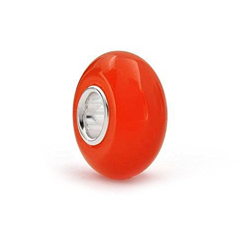Bling Jewelry Opaque Orange Murano glass Bead Charm .925 Sterling Silver