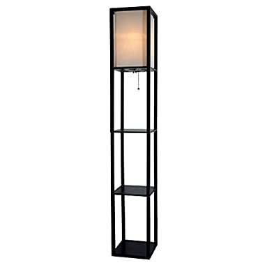 Light Accents Wooden Floor Lamp with White Linen Shade (Black)