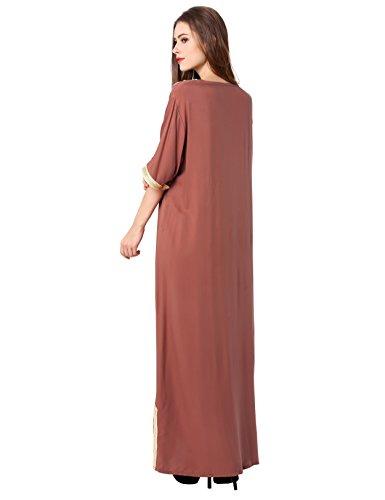 Donne Chiaro Marrone Baya Dubai Abito Vestiti Caftano Islamici Le Abito Abaya Per Musulmani Jalabiyas Rayon WOa4a6
