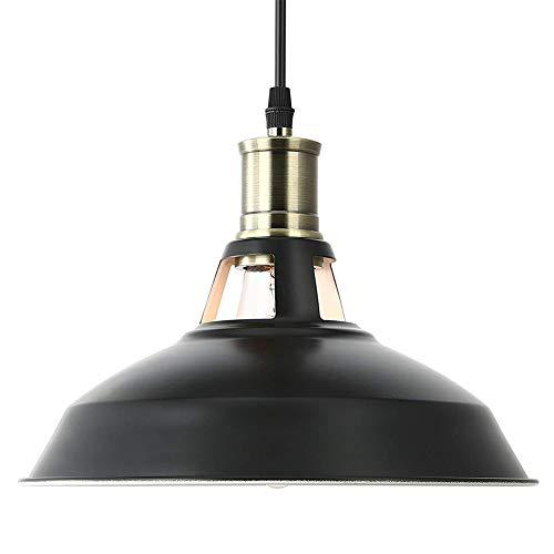 LAMPUNDIT Industrial Metal Pendant Light, Height-Adjustable Barn Hanging Lamp, Oil Rubbed Black Pendant Lighting ()