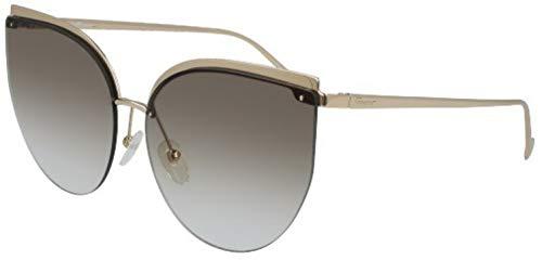 (Salvatore Ferragamo Women's SF195SL Shiny Gold/Brown Lens One Size)