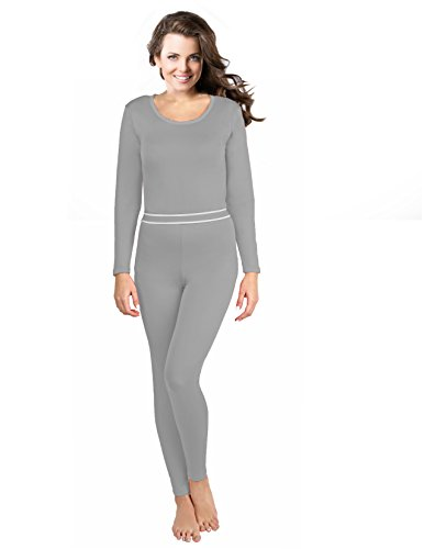 (Rocky Women's 2pc Thermal Underwear, Top & Bottom Fleece Lined Long Johns (Large, Grey))