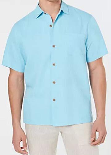 Tommy Bahama Micro Diamond Silk Camp Shirt (Color: Lapis Shell Blue, Size XXL) -