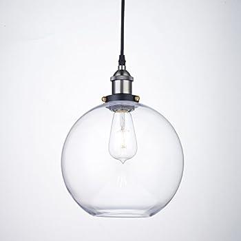 Truelite Industrial Clear Glass Globe Shade Pendant Light Modern Kitchen  Opening Hanging Lamp  1 Light